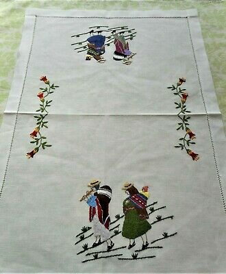 Beautiful Hand Embroidered People Women Floral Vintage Linen Table Runner Mat