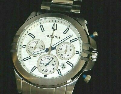 Bulova 96B307 Men's Chronograph Silver Dial Stainless Steel Watch