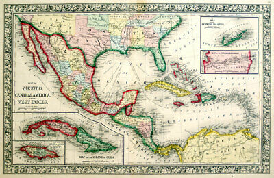 1863 Mexico Cent Am. West Indies Southern Us - Mitchell Antique Hand-Colored Map