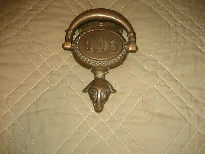 Antique Brass Door Knocker Plaque Numbered 106 Ram or Goat Head