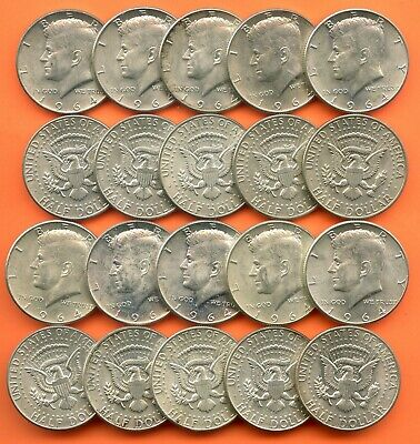 1964 ~ $10 Face = 20 Coins ~ 90% Silver ~ Kennedy Half Dollars ~ Circulated