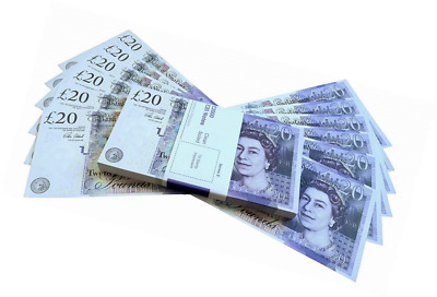 Big Screen Stacks PROP MONEY UK POUNDS GBP BANK 100 20 NOTES Extra Strap - Movie