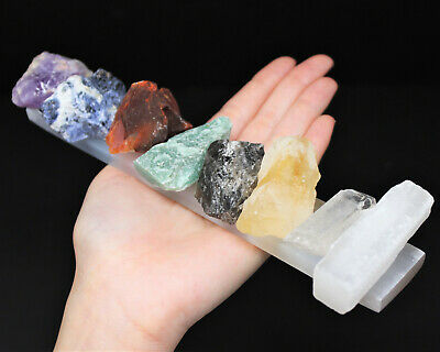 LARGE 7 Rough Crystal Chakra Set + LARGE Selenite Charging Plate + Directions