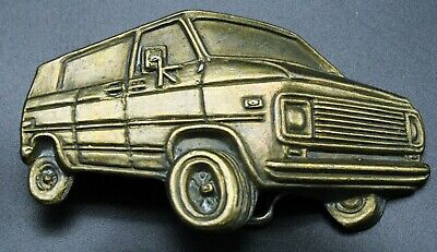 Vintage Brass Belt Buckle Chevrolet Chevy Van
