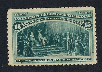 CKStamps: US Stamps Collection Scott#238 15c Columbian Unused NG Thin
