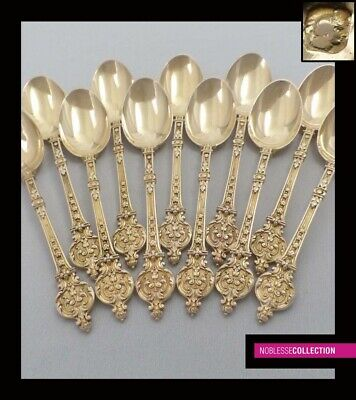 ANTIQUE 1880s FRENCH STERLING SILVER/VERMEIL 18k GOLD COFFEE SPOONS SET 11pc