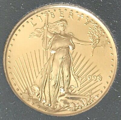 $5 US GOLD EAGLE 1998 1/10 oz Fine Gold Coin.  Free Shipping