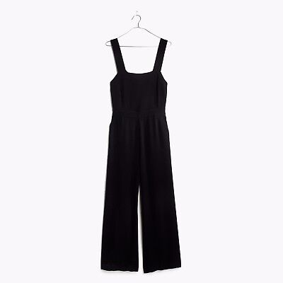 NWT MADEWELL Black APRON BOW BACK JUMPSUIT Sz 14 Style g2195 Tie Back Wideleg