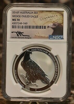 2016 Australian Wedge Tailed Eagle NGC MS70 Mercanti $1 Silver Coin Perth Mint
