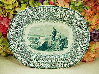 Antique 19c Ridgway Staffordshire Green Transferware Platter Beauties Victorian