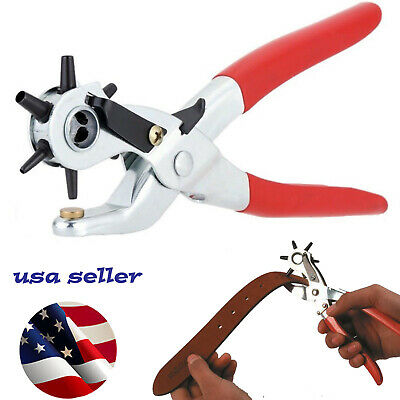 "6 Sized 9"" Heavy Duty Leather Hole Punch Hand Pliers Belt Holes Punches"
