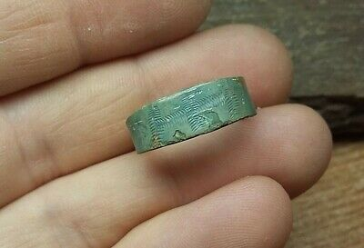 Nice Ancient Lamellar punch ornamented Viking finger ring 8-10 century AD #2802