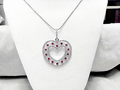 2.30Ct Natural Diamond And Pink sapphire Heart Pendant In Solid 14K White Gold