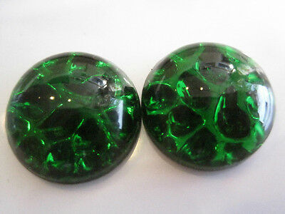 36pc VINTAGE ART DECO W German Emerald Pinfire FIRE OPAL Cabs 15mm! Christmas!!