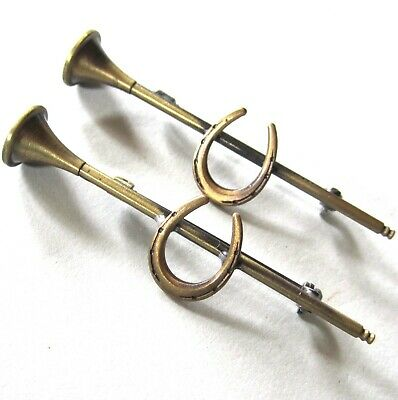 Lovely Vintage Art Deco Pin Pair Bugles W/ Horseshoes Matching Pr Brass 2 1/8""