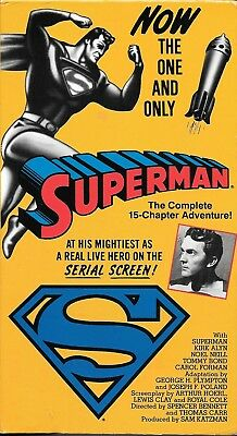 SUPERMAN Complete 15-Chapter Serial (2-Tape VHS) 1948 Warner Release! DC Comics
