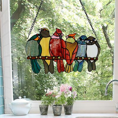 """9.5""""H Birds in Love Stained Glass Window Panel - 15""""L x 0.25""""W x 9.5""""H"""