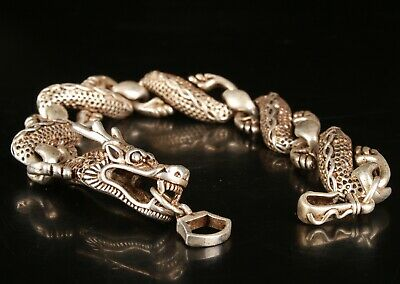 Exquisite Chinese Tibetan Silver Hand Carving Dragon Bracelet Gift Collection
