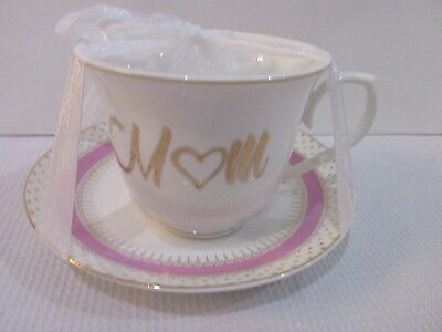"""GRACE'S TEAWARE SHABBY CHIC PINK & WHITE """"Mom"""" GOLD DOT TEA CUP & SAUCER"""