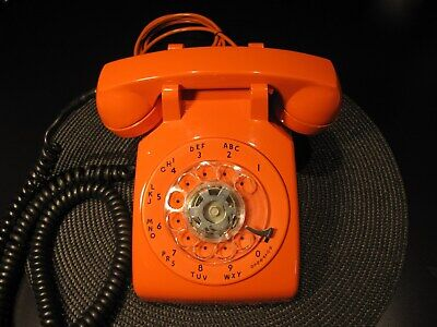 Stunning Vintage Orange Itt Rotary Dial Phone W/ Ringer Nice Condition ! Works !