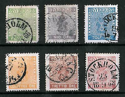 SWEDEN 1858-1870 Used Complete Set of 6 Yvert #6-11 CV €520