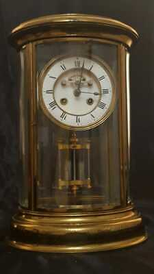 19th Century French Oval Four Glass Mantel Clock 8 Day Striking Brass & Bevelled