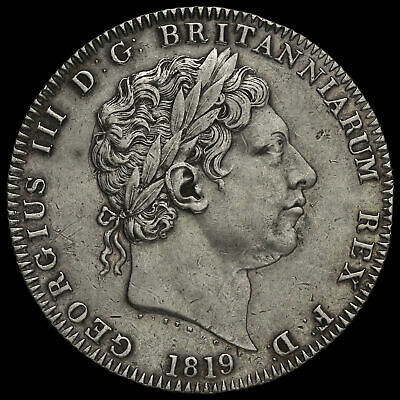 1819 George III Milled Silver LIX Crown, No Edge Stops, Extremely Rare