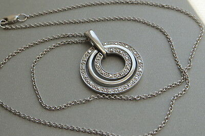 Sterling Silver Womens Round Diamond Circle Pendant w/ One Tiny Diamond 16""