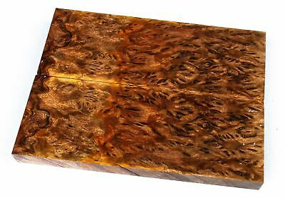 Two Toned Stabilized Yellow Box Burl Exotic Wood Knife Scales SCL7825