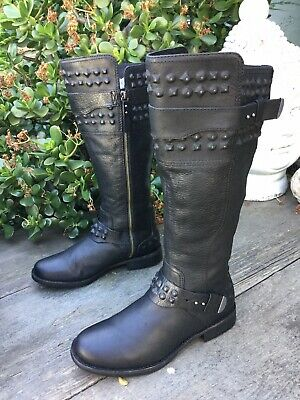 0de56358ef9 UGG AUSTRALIA DAYLE Stud Moto Riding Boots Black Leather Knee High Women Sz  8 US
