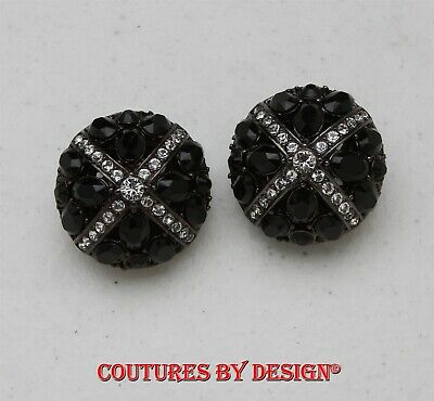074c8e69d St John Knits Black Tone & Black Swarovski Crystals Clip-on Earrings NWT