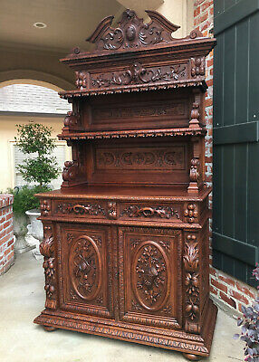 Antique French Carved Oak Hunt Cabinet Sideboard Server Bookcase Wine Victorian