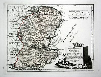 1790 Norfolk Suffolk Essex Kent London Surrey England map Karte Reilly engraving