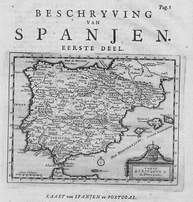 1707  - Espana Spain Portugal map Karte