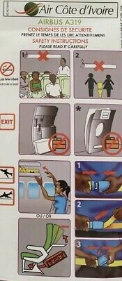 AIR CÔTE D' IVOIRE Airbus 319 Safety Card VERY Rare In Good Condition.