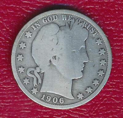 1906-D Barber Silver Half Dollar **nicely Circulated Good Coin** Free Shipping!