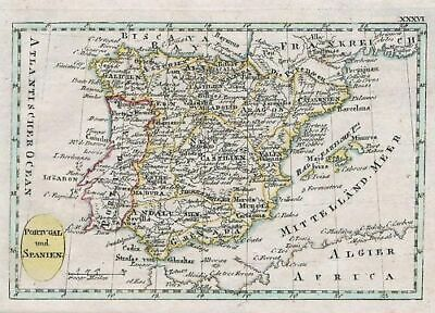 1807 - Spain Espana Portugal Map Schindelmayer