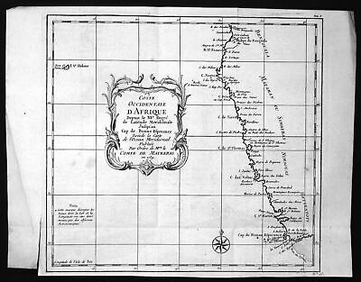 1739 Angola Namibia St. Helena Africa map Karte Kupferstich engraving Bellin