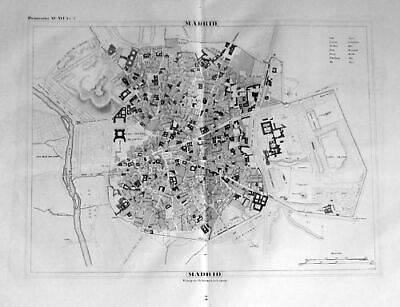 1835 - Madrid Espana Plan Lithographie