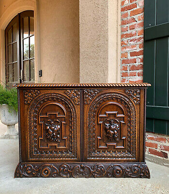 Antique French Carved Walnut Breakfast Server Sideboard Cabinet Foyer Table