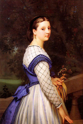 """Stunning Oil painting Bouguereau - Nice young noblelady The Countess canvas 36"""""""