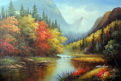 Mountain River Fishing Hole Autumn Trees Pines Stretched Oil On Canvas Painting