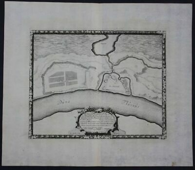 1696 Riga Latvia Daugavgrica castle fort engraving  map antique Pufendorf