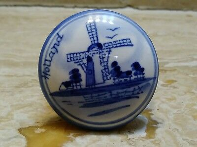Collectible DELFT HOLLAND Windmill Blue White Snuff JAR Trinket Box Handpainted
