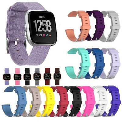 Classic Silicone Band Rubber Wristband Strap Woven Fabric For Fitbit Versa Watch
