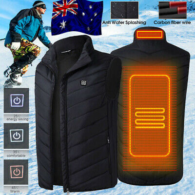 Electric Vest Heated Cloth Jacket USB Warm Up Heating Pad Body Winter Warmer AU