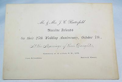 Rare 1875 Wedding Anniversary And Marriage Of Daughter Clara Butterfield