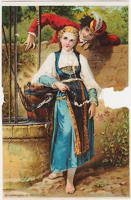 Rare Old Dr Jayne's Expectorant Quack Victorian Trade Card Young Woman And Man