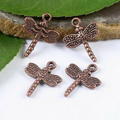 20pcs antiqued copper tone dragonfly charms h1909