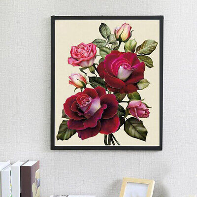 Cross Stitch Set Kit 5D Faux Diamond Painting Red Rose Flower Pattern Counted L